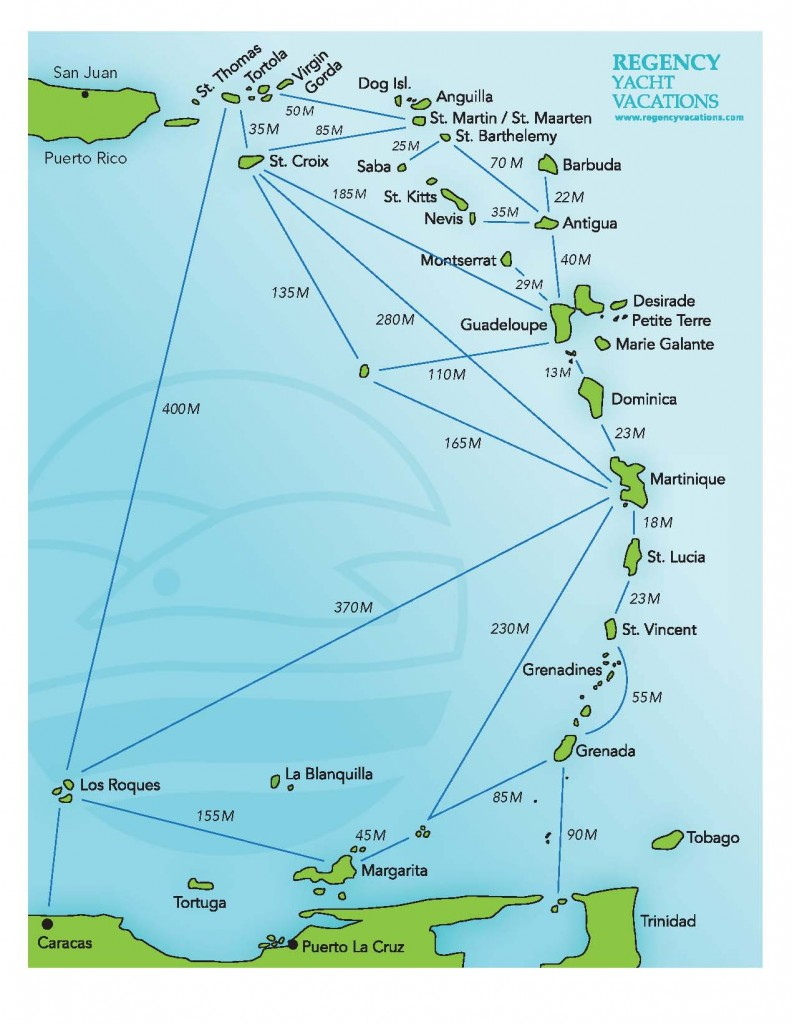 Caribbean Luxury Yacht Charters Map
